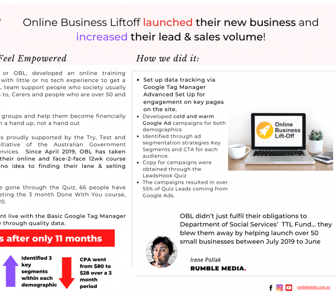 Case Study Online Business Liftoff